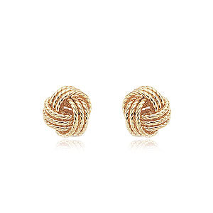 Twisted Love Knot Earrings in Yellow Gold - Silverscape Designs