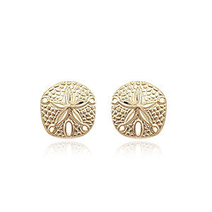 Carla Sand Dollar Earrings in Yellow Gold - Silverscape Designs