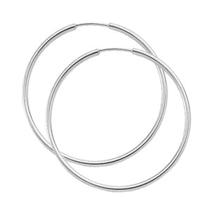 1.5 x 30mm White Gold Endless Hoops - Silverscape Designs