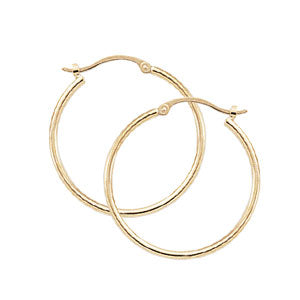 Carla Medium Tube Hoops in Yellow Gold - Silverscape Designs