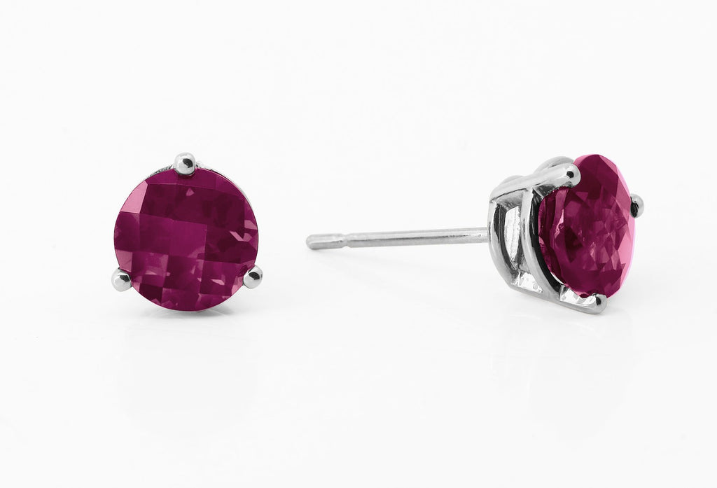 7mm Rhodolite Garnet White Gold Studs