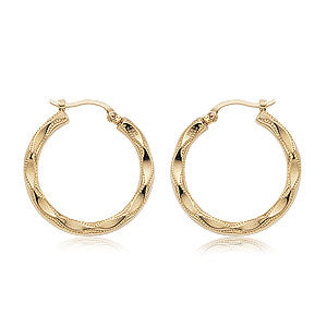 Carla Embossed Shell Hoops in Yellow Gold - Silverscape Designs