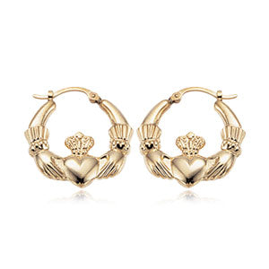 Carla Medium Claddagh Earring in yellow gold - Silverscape Designs