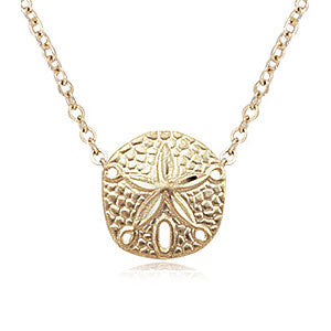 Carla Sand Dollar Necklace in Yellow Gold - Silverscape Designs