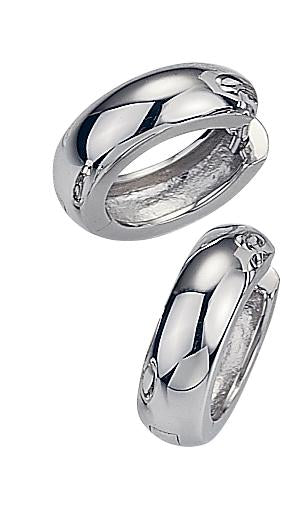 Polished White Gold Huggies - Silverscape Designs