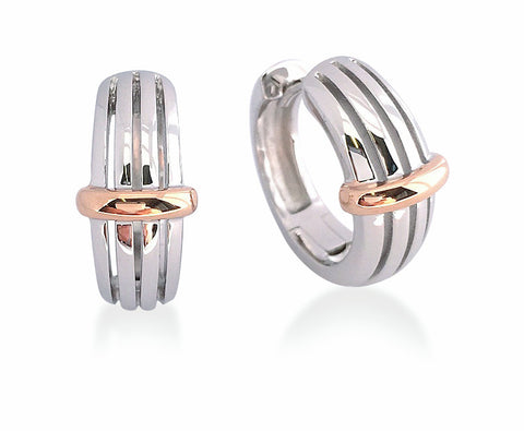 Sterling Silver Rose Gold Plated Huggies