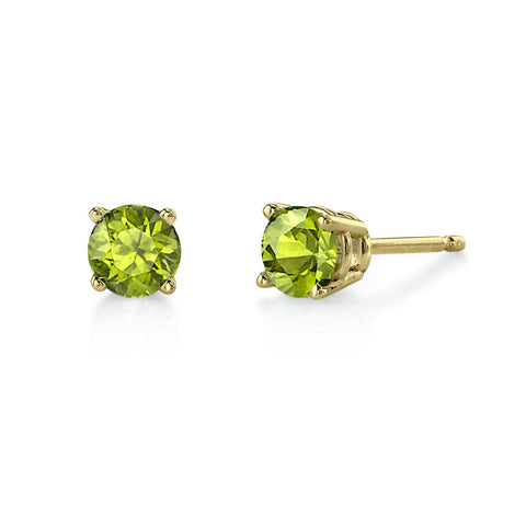 5mm Peridot studs in 14 Karat Yellow Gold.