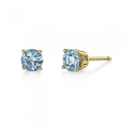 Aquamarine Yellow Gold Stud Earrings - Silverscape Designs