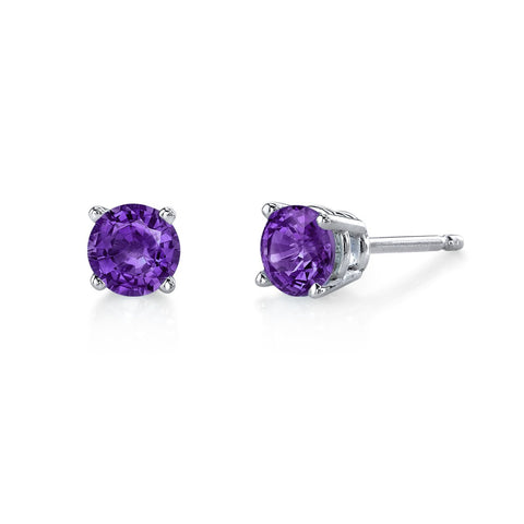 5mm Amethyst Studs in White Gold.