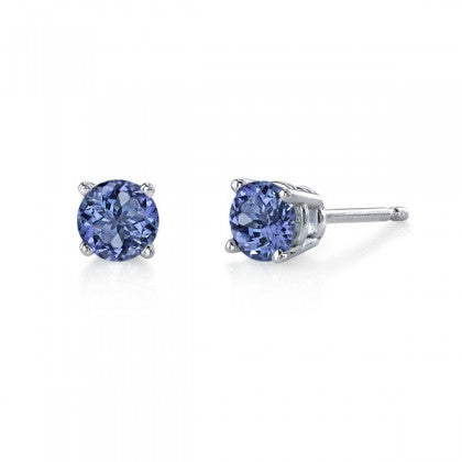 Round Tanzanite White Gold Stud Earrings - Silverscape Designs