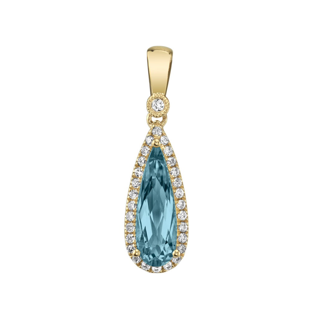 Blue Topaz Pendant with Diamond Halo in Yellow Gold - Silverscape Designs
