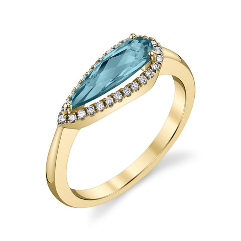 Yellow Gold Blue Topaz East to West Ring