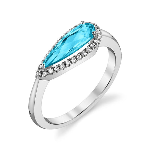 White Gold Blue Topaz East to West Ring