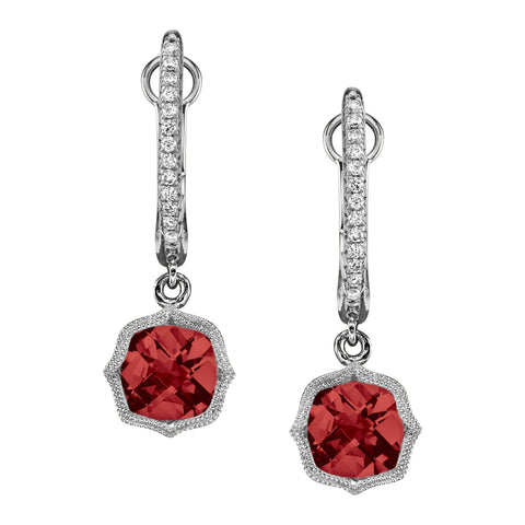 White Gold Garnet and Diamond Huggie Drop Earrings - Silverscape Designs
