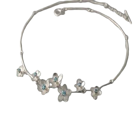 EAM Apple Blossom Blue Topaz Sterling Silver Necklace