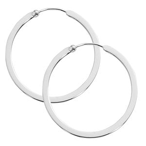 Carla Medium Flat Wire Hoops in Sterling Silver - Silverscape Designs