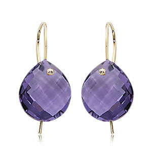 Carla Corporation Briolette Dangle Amethyst and 14k White Gold Earrings
