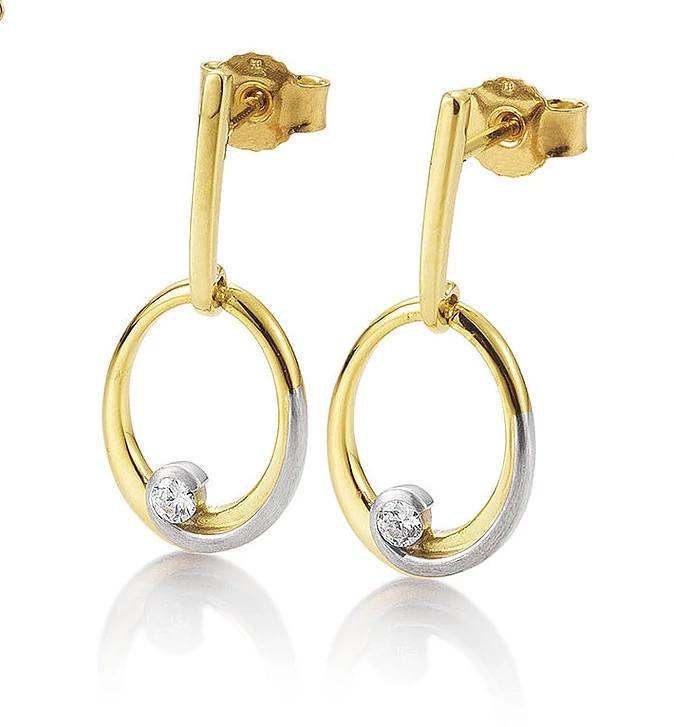 Diamond Yellow and White Gold Loop Earrings - Silverscape Designs