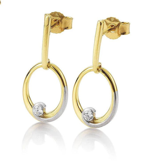 Breuning Diamond 14k Yellow and White Gold Loop Earrings