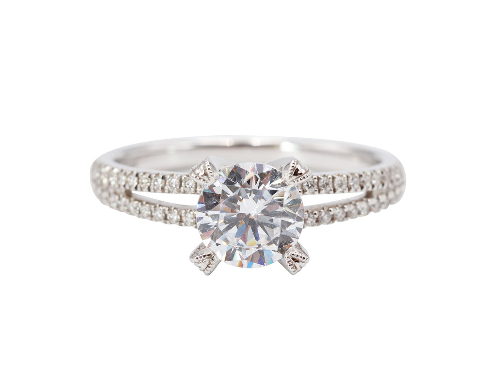 Diamond Prong Split-Shank Engagement Ring