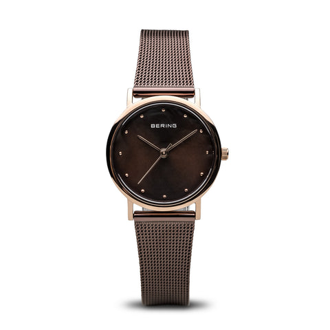 Classic Brown and Polished Rose Gold Watch - Silverscape Designs