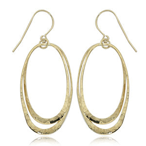 Double Oval Earrings in Yellow Gold - Silverscape Designs
