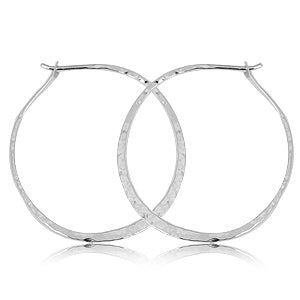 Carla Hammered Round Hoops in Sterling Silver - Silverscape Designs