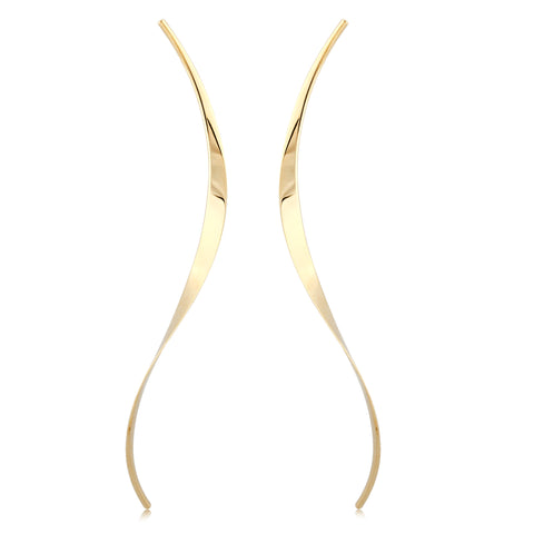 Elongated  Curve Earrings in Yellow Gold - Silverscape Designs