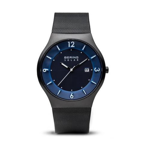 Men's Solar Black and Blue Watch