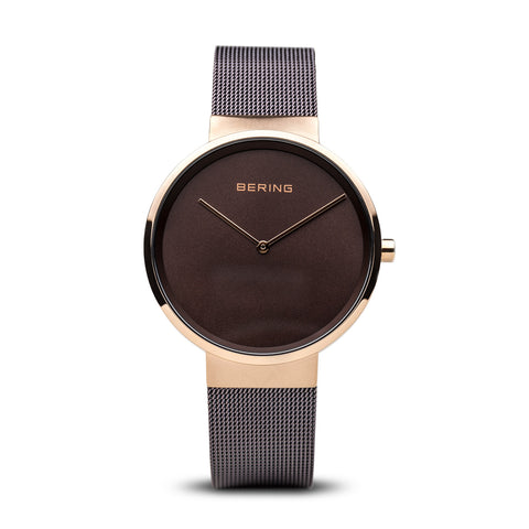 Milanese Brown & Gold Watch