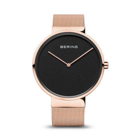 Classic Black and Polished Rose Gold Unisex Watch - Silverscape Designs