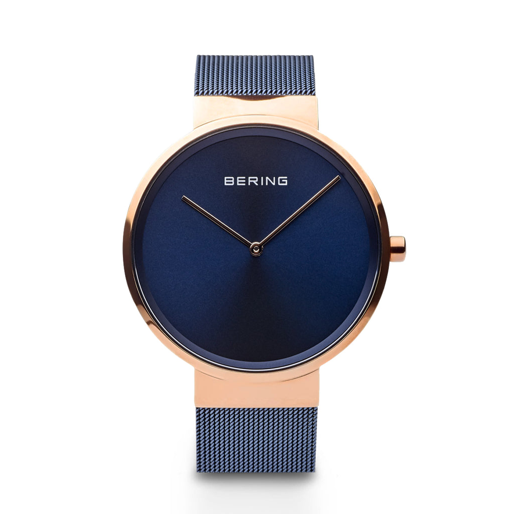 Classic Navy and Polished Rose Gold Watch - Silverscape Designs