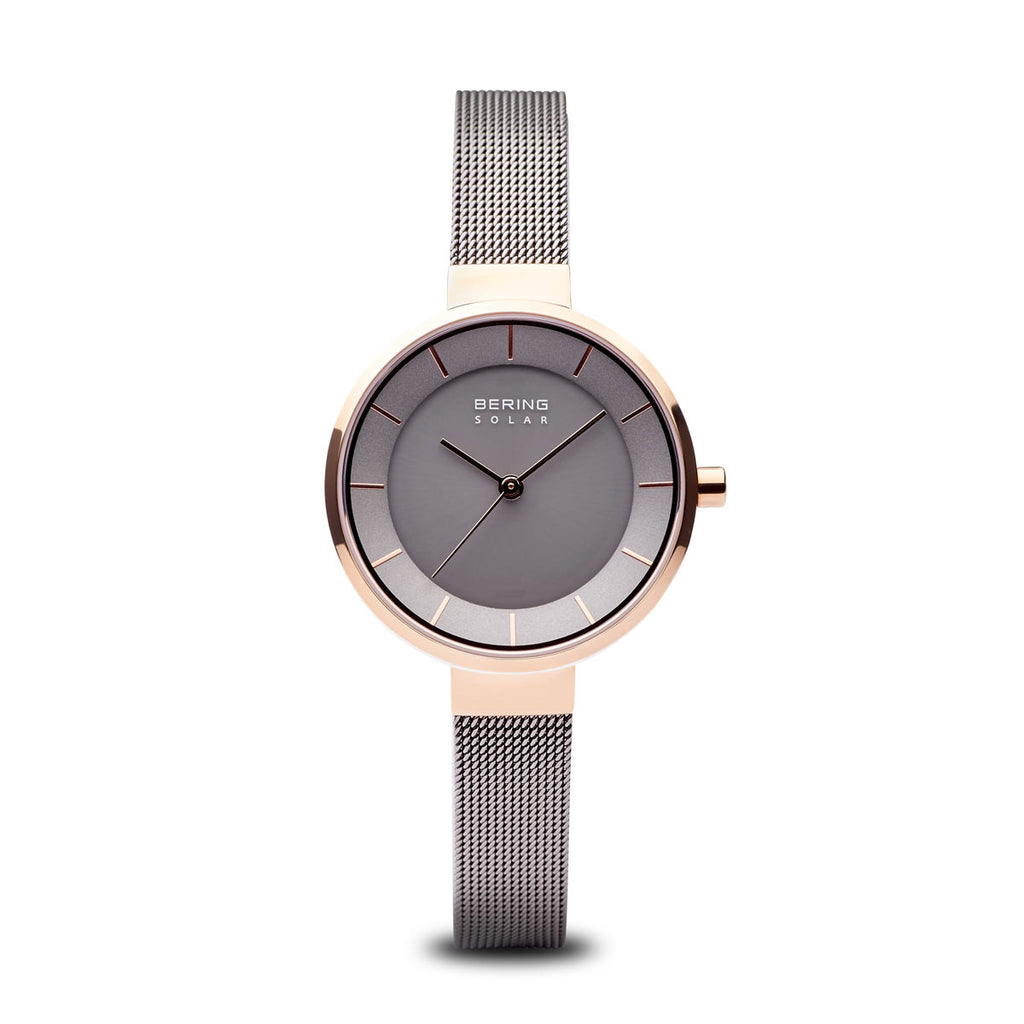 Solar Matte Grey Polished Rose Gold Watch - Silverscape Designs