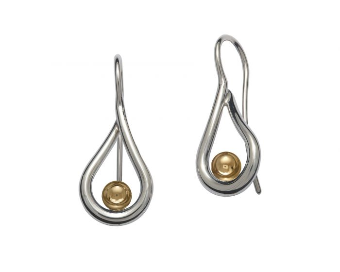Sterling Silver Yellow Gold Mana Earrings - Silverscape Designs