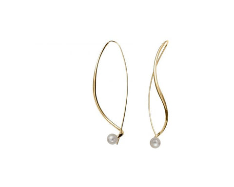 Yellow Gold White Pearl Dangle Earrings - Silverscape Designs