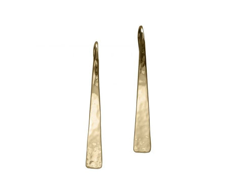 Yellow Gold Hammered Tappered Earrings - Silverscape Designs