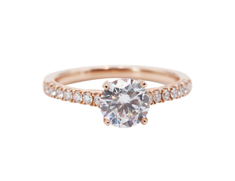 Sylvie Detailed Diamond Band 14k Rose Gold .23tcw Side Diamond Engagement Ring