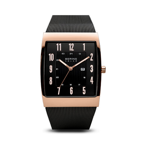 Black and Polished Rose Gold Solar Watch - Silverscape Designs