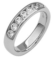 Channel Set Diamond and Platinum Band - Silverscape Designs