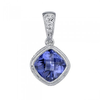 Cushion Cut Tanzanite White Gold Bezel Pendant - Silverscape Designs