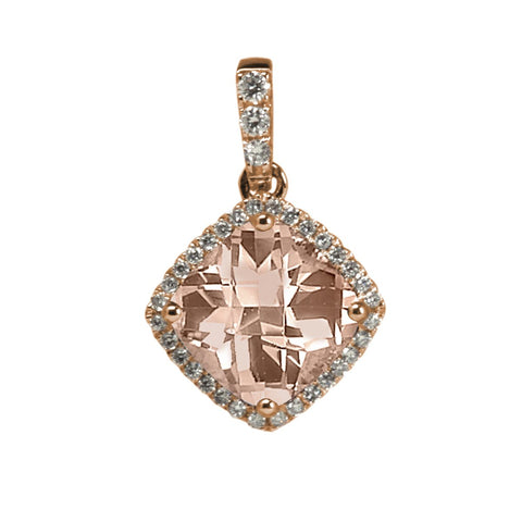 Stanton Color 14k Rose Gold 7mm Morganite and .12 TCW Diamond Halo Pendant