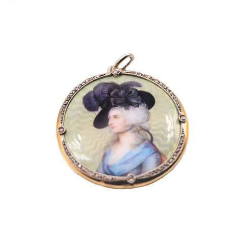 Antique Guilloche Enamel Portrait Locket