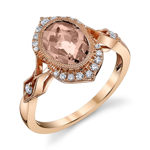 Stanton Color 1.90 Oval Morganite .19 TCW Diamonds and 14k Rose Gold Ring