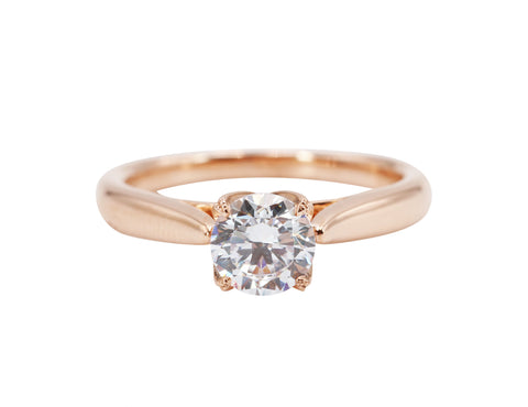 Sylvie Collection 14k Rose Gold Prong Detailing Solitaire Engagement Ring