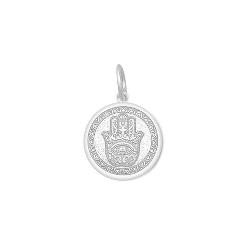 Alpine White Hamsa Pendant in Sterling Silver