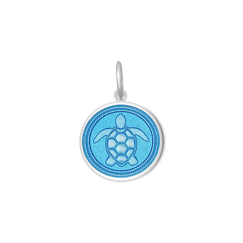 Light Blue Sea Turtle Pendant in Sterling Silver 19mm - Silverscape Designs