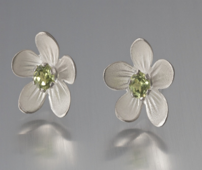 Sterling Silver Peridot Apple Blossom Earrings