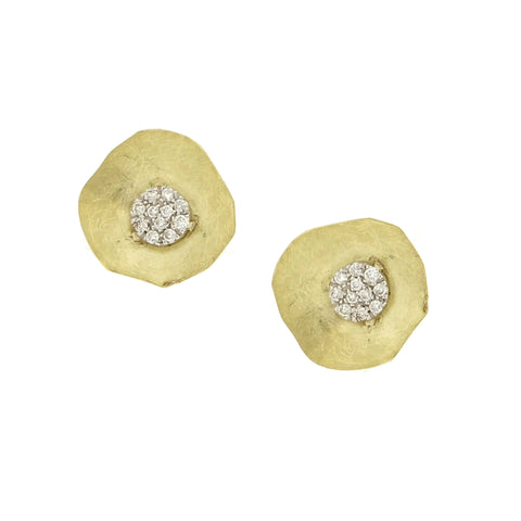 meiraT Designs Yellow Gold and Diamond Studs