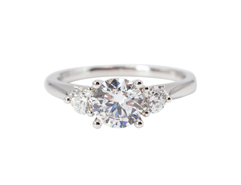 Sylvie Classic Three Stone 14k White Gold Engagement Ring