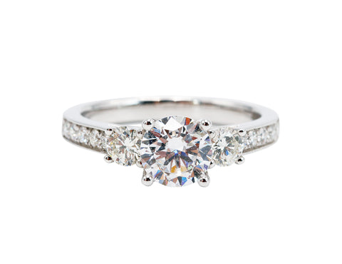 Sylvie Classic Three Stone Detailed 14k White Gold Engagement Ring